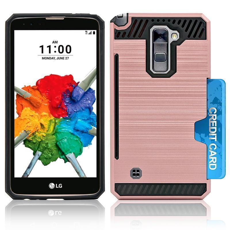 LG Stylo 2 Plus / MS550 Slim PC Brushed Metal Protective Credit Card Slot Case by Modes