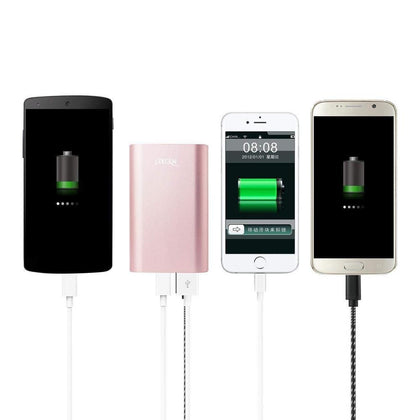 Reiko 6800mAh Universal Power Bank 2A 5V with Micro Cable and Dual Outputs (Rose Gold)
