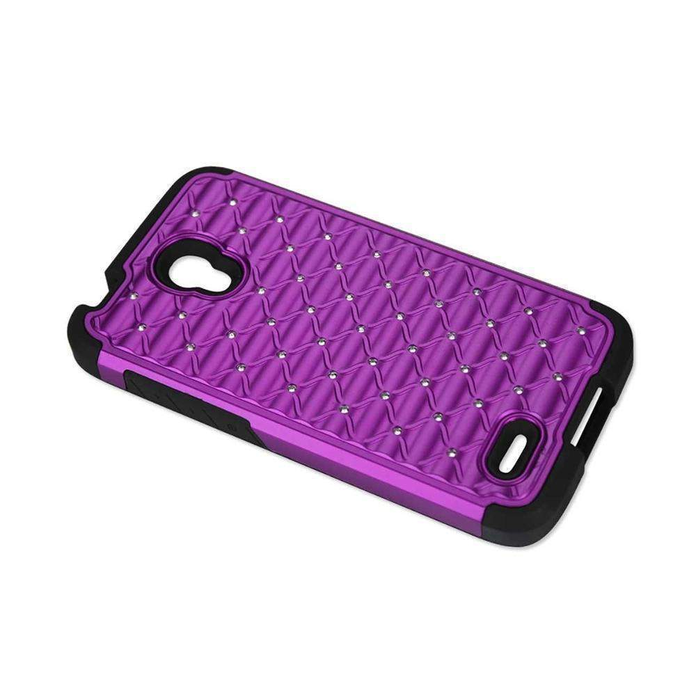 Reiko Alcatel One Touch Conquest Hybrid Heavy Duty Jeweled Crystalized Diamond Case (Black) Purple