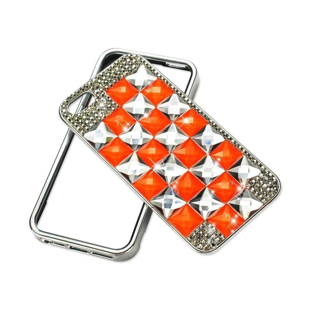 Reiko Chain Diamond Case for iPhone 5 Orange&gray Square Pattern Silver Orange