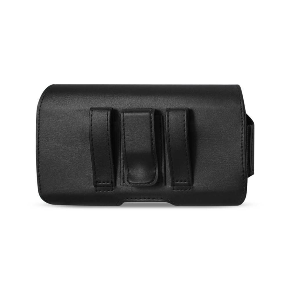 Reiko Horizontal Leather Pouch iPhone 6/6s with Z Lid Pattern with Embossed Logo (Black) (5.84x3.04x0.67inch Plus)