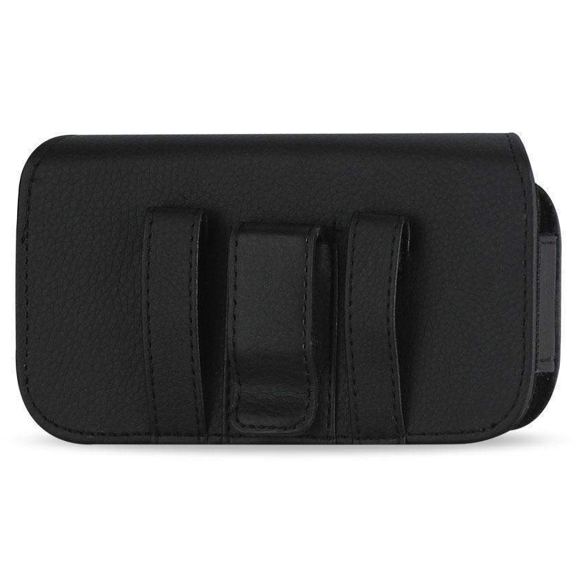 Reiko Horizontal Leather Belt Pouch Samsung Notei9220/N7000 with Metal Logo (Black) (6.18x3.67x0.78inch Plus)