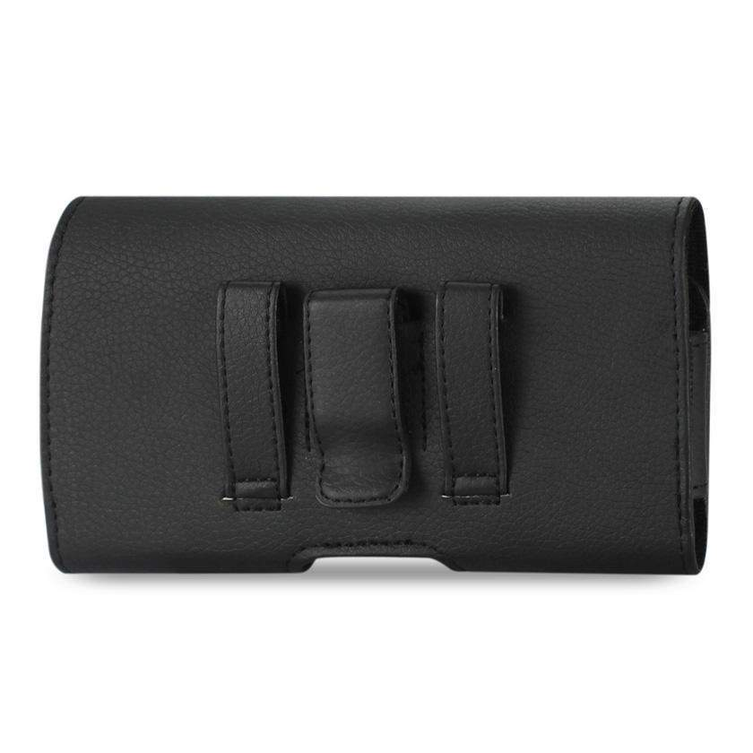 Reiko Horizontal Leather Belt Pouch iPhone X/XR w-case Samsung Galaxy S6 S8 With Embossed Logo In Black (6.1x3.2x0.7 Inches)