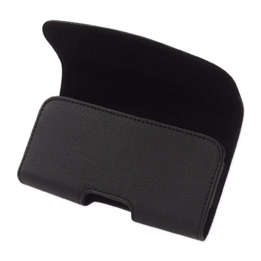 Reiko Horizontal Leather Belt Pouch With Embossed Logo In Black (6.6x3.5x0.7 Inches)