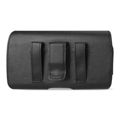 Reiko Horizontal Leather Belt Pouch With Flat Closure In Black (5.5x2.9x0.5 Inches)