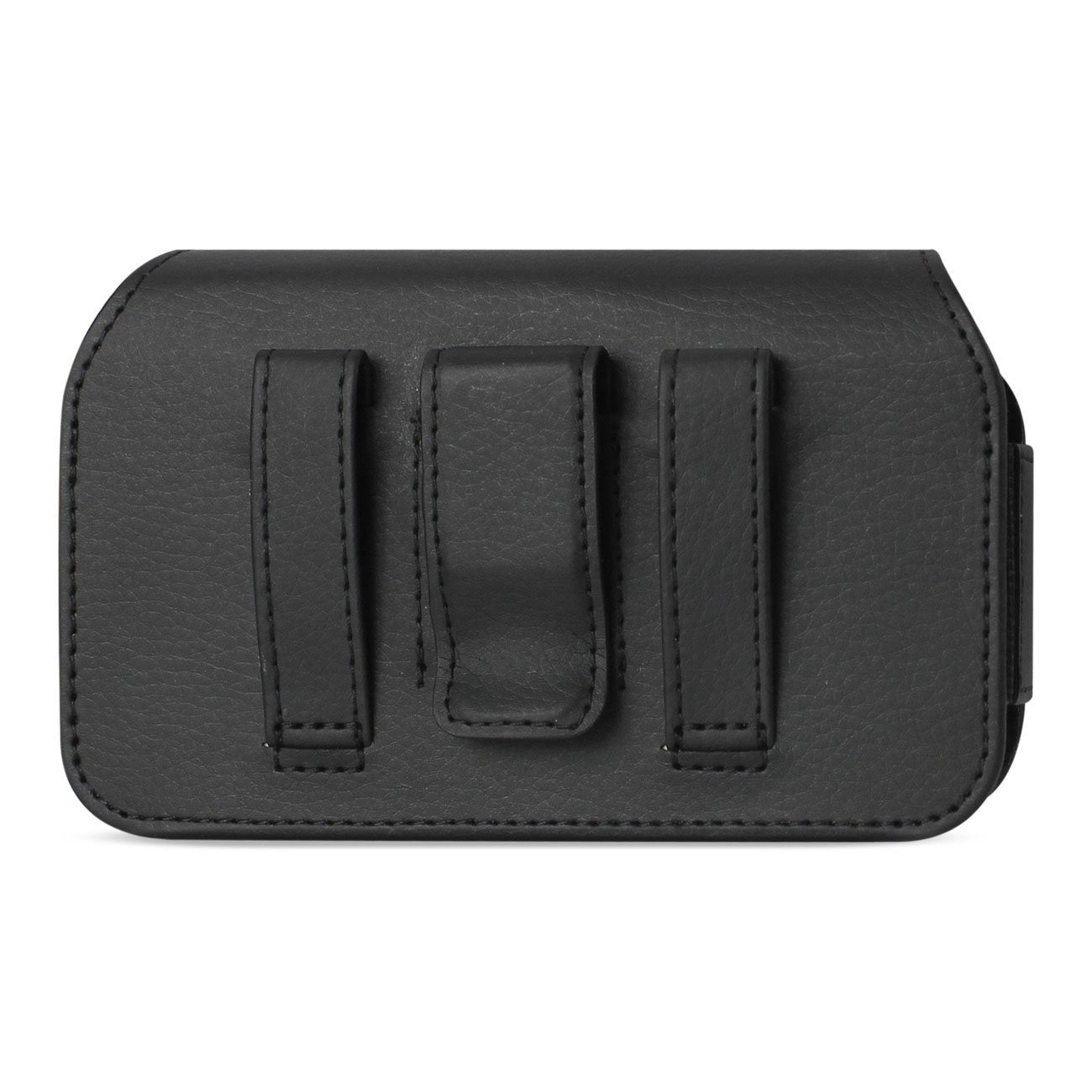 Reiko Horizontal Leather Belt Pouch With Metal Reiko Logo In Black (7.0x3.9x0.7 Inches)