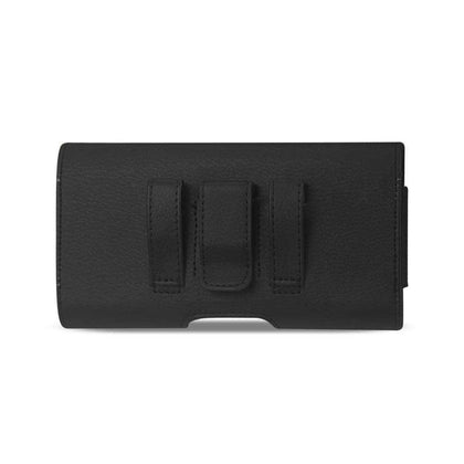 Reiko Horizontal Leather iPhone 7/iPhone 8/iPhone X/iPhone 10 Belt Pouch With Card Holder In Black (5.8x3.0x0.7 Inches)