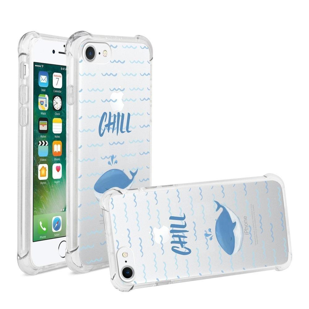 Reiko iPhone 7 Chill with Animated Dolphin Design Air Cushion Case (Clear)