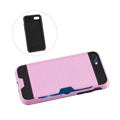 Reiko iPhone 7 Slim Armor Hybrid Case With Card Holder In Pink