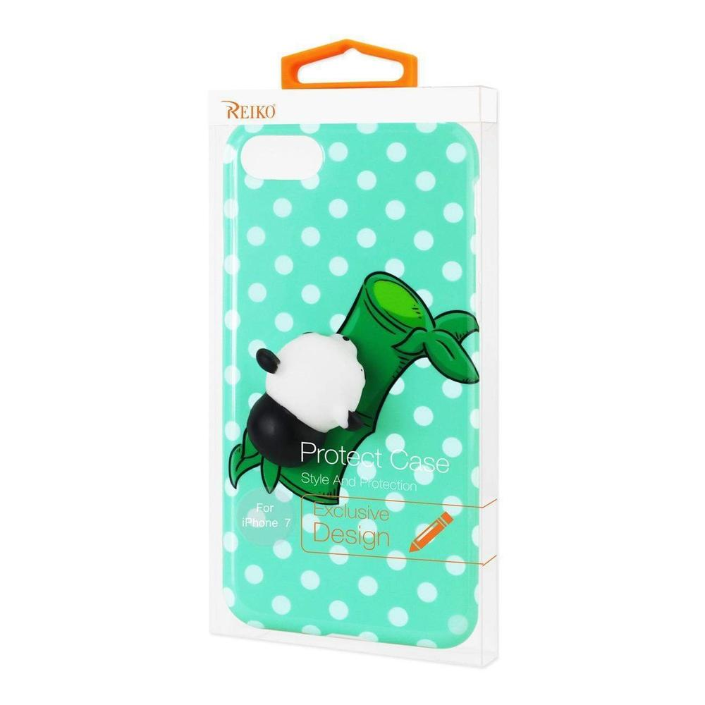 Reiko iPhone 7 TPU Designer Case With 3D Soft Silicone Poke Squishy Panda