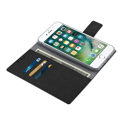 Reiko iPhone 8 Plus- 7 Plus Denim Wallet Case With Gummy Inner Shell And Kickstand Function In Black
