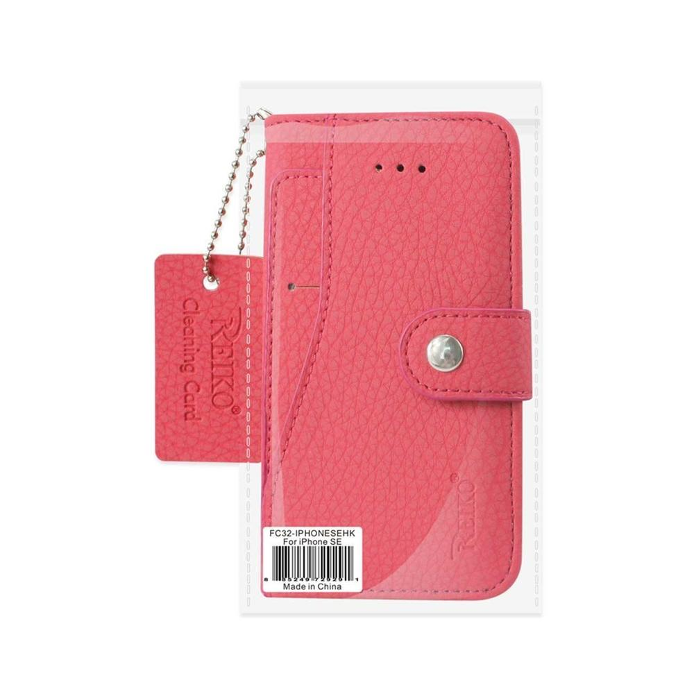 Reiko iPhone Se Wallet Case with Slide Out Pocket and Fold Stand (Hot Pink)