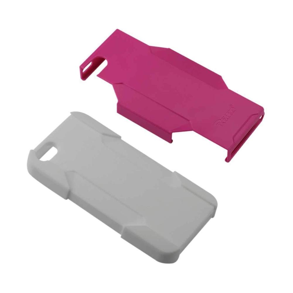 Reiko iPhone SE/5S/5 Hybrid Heavy-duty Holster Combo Case (Hot Pink) White