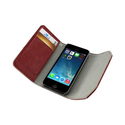 Reiko iPhone Se/5s/5 Studs Wallet Case in Dark Red