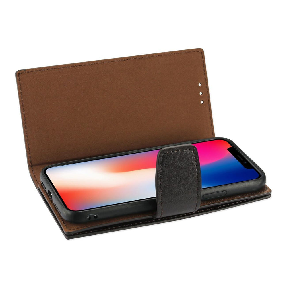 Reiko iPhone X Genuine Leather Wallet Case With Rfid Card Protection In Umber