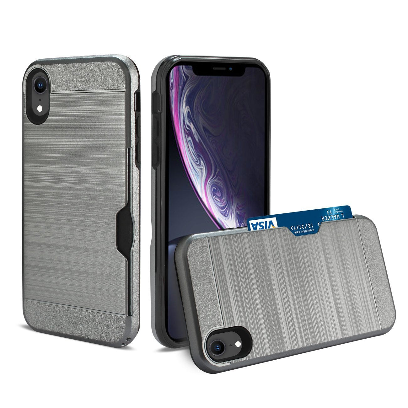 Reiko iPhone XR Slim Armor Hybrid Case With Card Holder In Gray