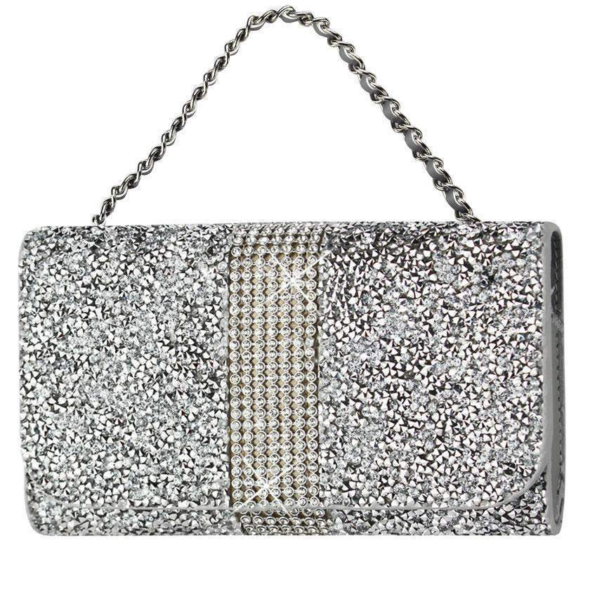 Reiko Jeweled Crystalized Rhinestone Purse Wallet Case iPhone 6/6s/7 (Silver) (5.84x3.04x0.67inch Plus)