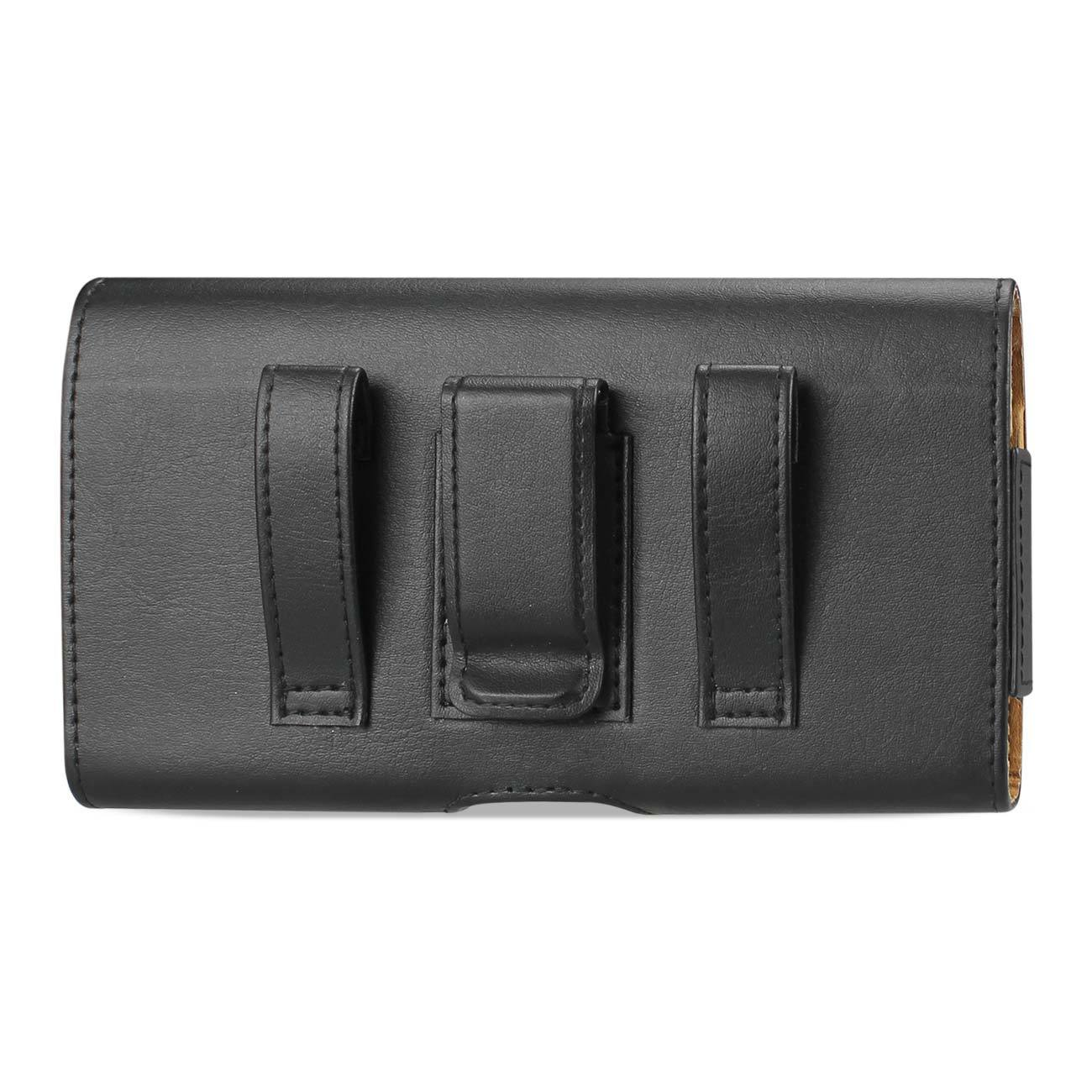 Reiko Leather Horizontal Belt Pouch With Easy Take Out Design In Black (6.0x3.1x0.7 Inches)