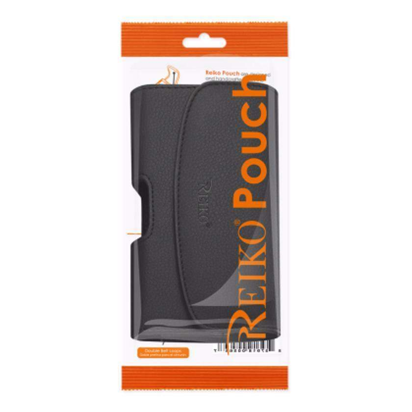 Reiko Leather Horizontal Phone Belt Pouch With Embossed Logo In Black (7.0x3.9x0.7 Inches)