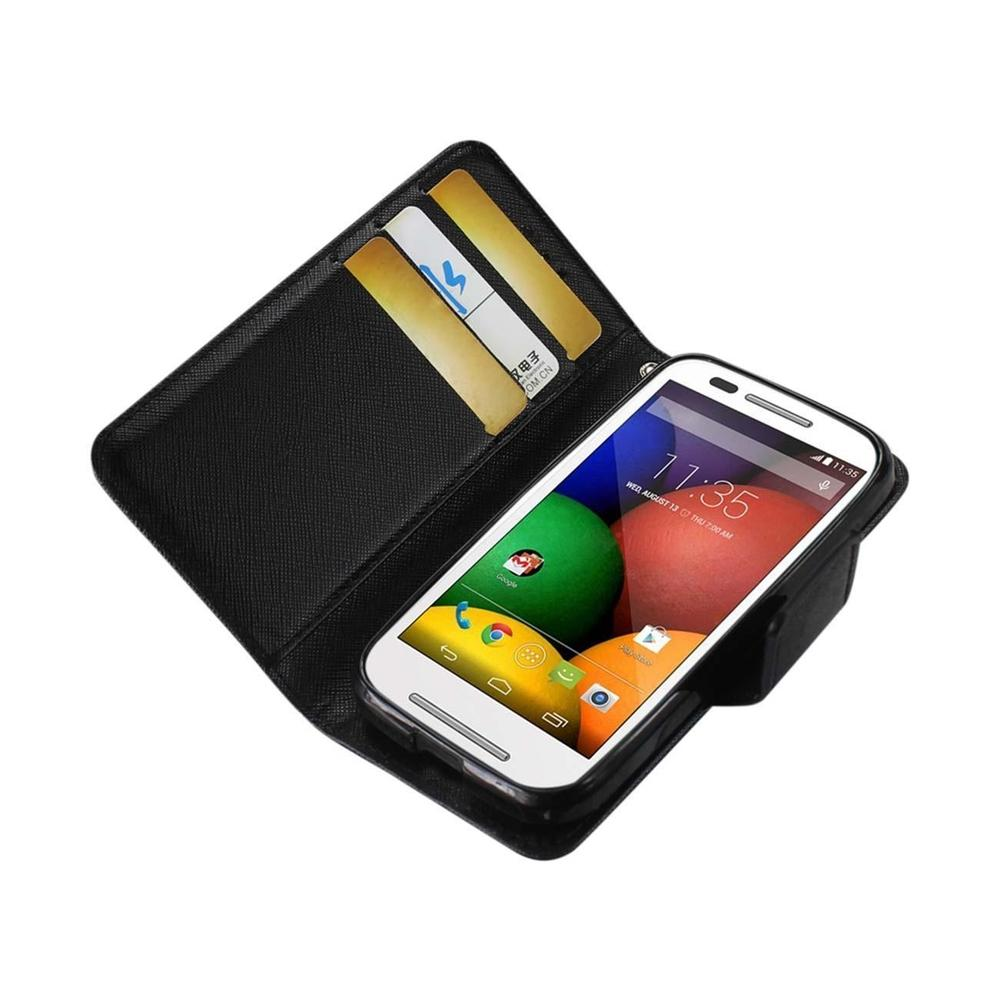 Reiko Motorola Moto E 3-in-1 Wallet Case (Black)