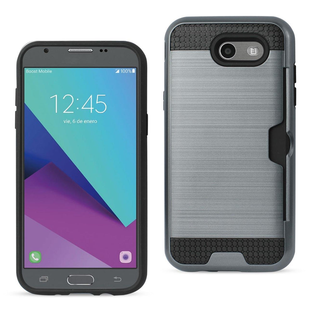 Reiko Samsung Galaxy J3 Emerge Slim Armor Hybrid Case with Card Holder (Gray)