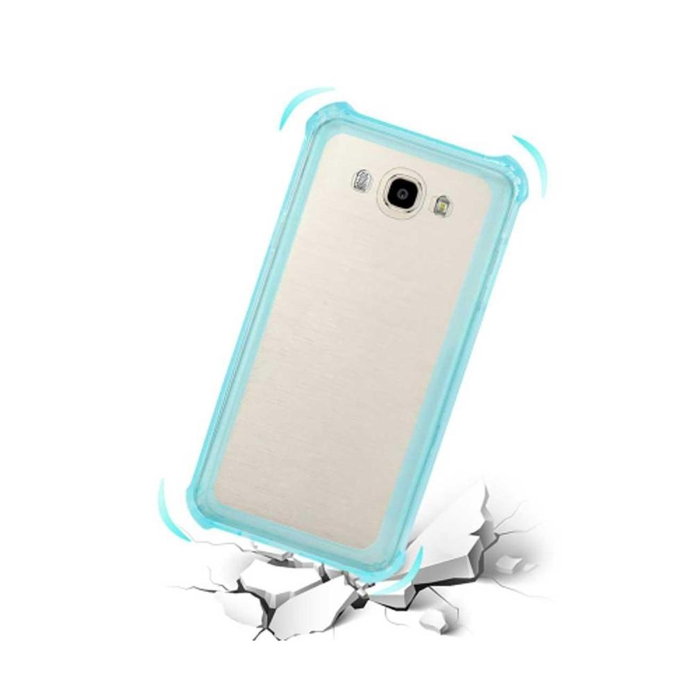 Reiko Samsung Galaxy J7 Clear Bumper Case withAir Cushion Protection (Clear) Navy