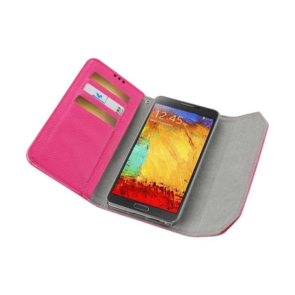 Reiko Samsung Galaxy Note 3 Studs Wallet Case (Hot Pink)