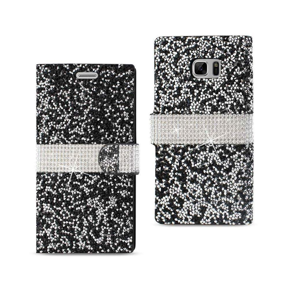 Reiko Samsung Galaxy Note 7 Jeweled Crystalized Rhinestone Wallet Case (Black)
