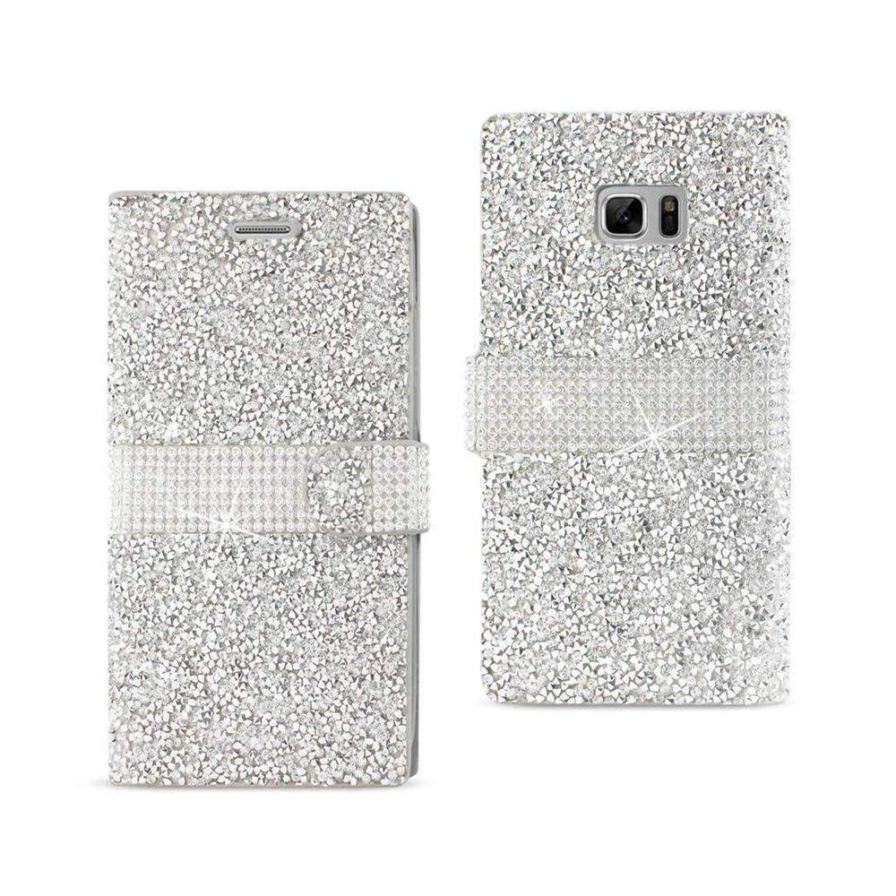 Reiko Samsung Galaxy Note 7 Jeweled Crystalized Rhinestone Wallet Case (Silver)
