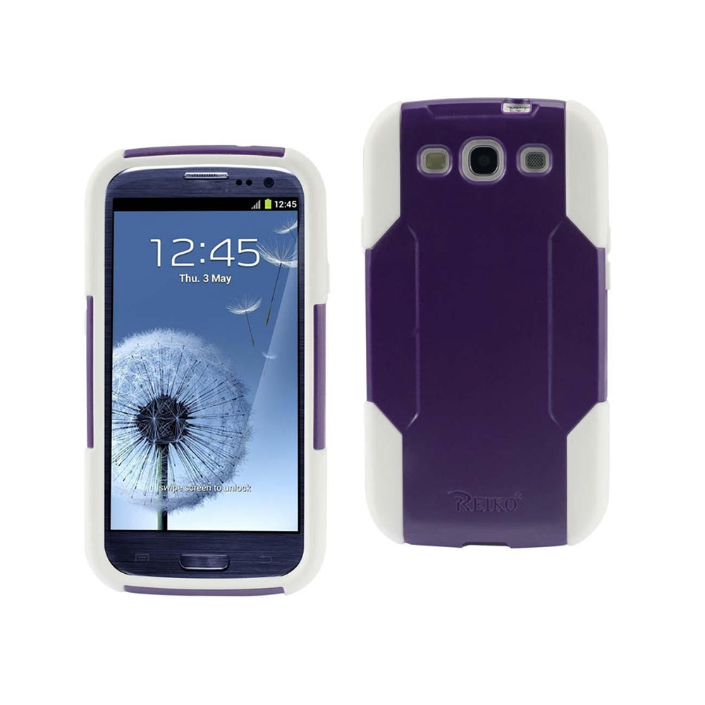 Reiko Samsung Galaxy S3 Hybrid Heavy Duty Case (Purple) White
