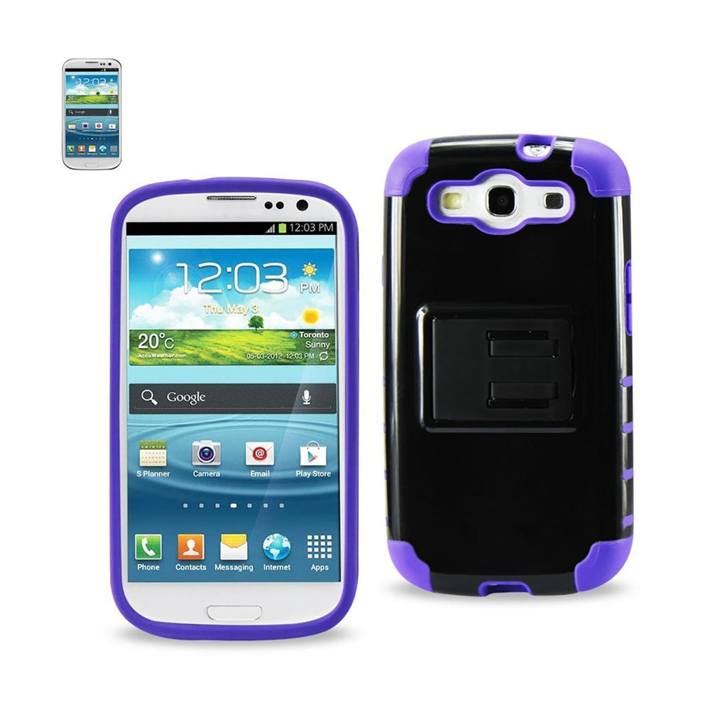 Reiko Samsung Galaxy S3 Hybrid Heavy Duty Case with Horizontal Kickstand (Black) Purple