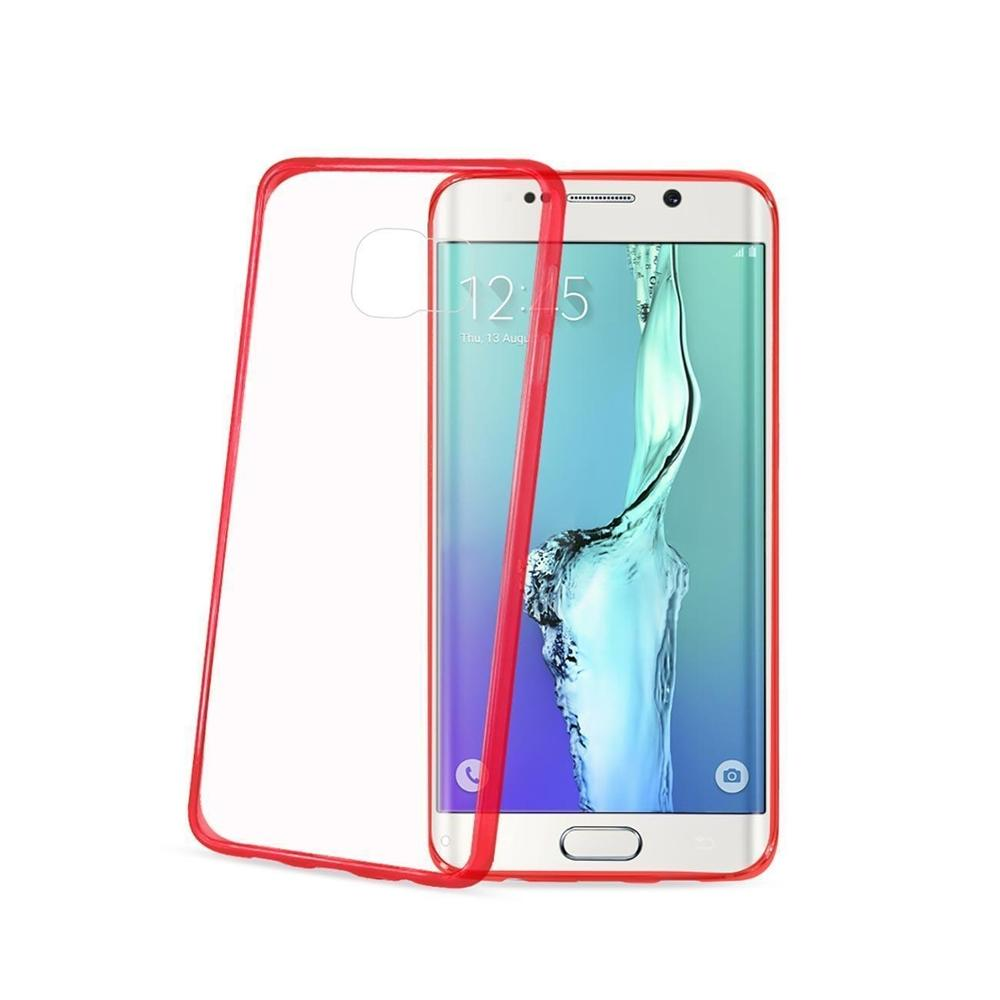 Reiko Samsung Galaxy S6 Edge Plus Clear Back Frame Bumper Case (Red)
