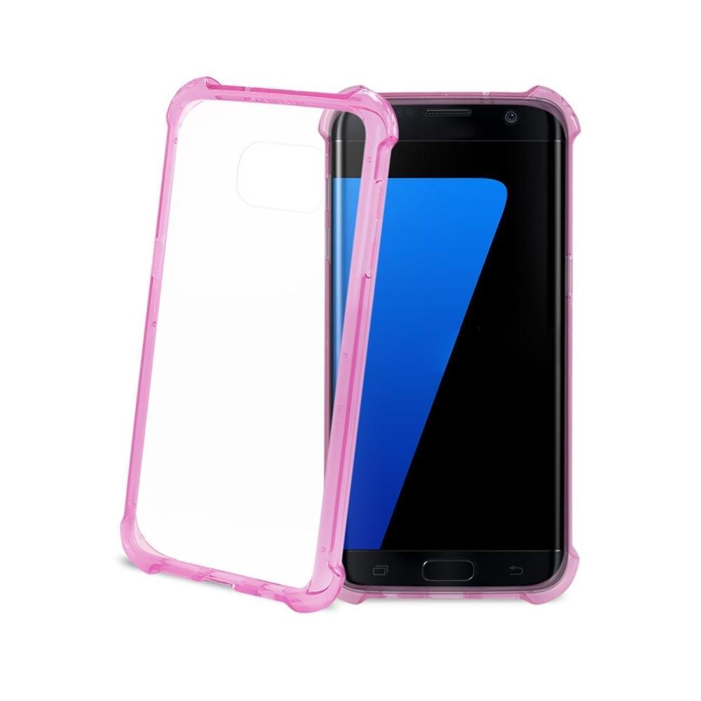 Reiko Samsung Galaxy S7 Edge Clear Bumper Case withAir Cushion Protection (Clear) Hot Pink