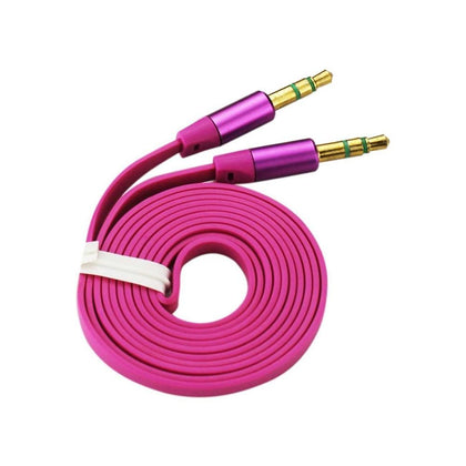 Reiko Stereo Male To Male Flat Audio Cable 3.2ft (Hot Pink)