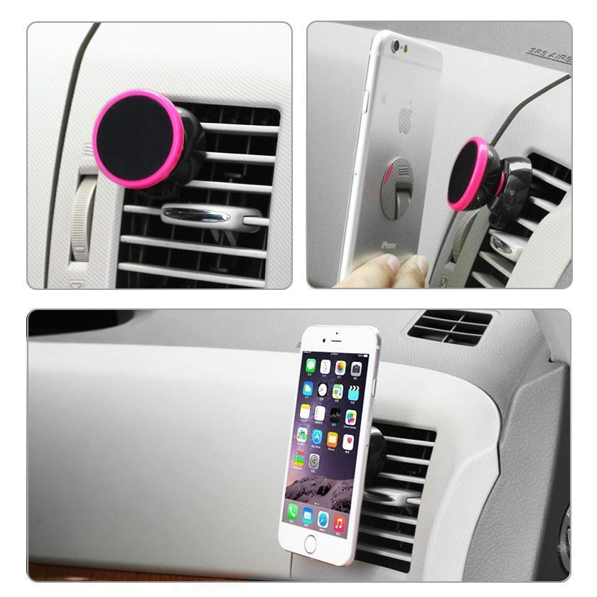 Reiko Universal Air Vent Magnetic Car Mount Phone Holder (Black) Hot Pink