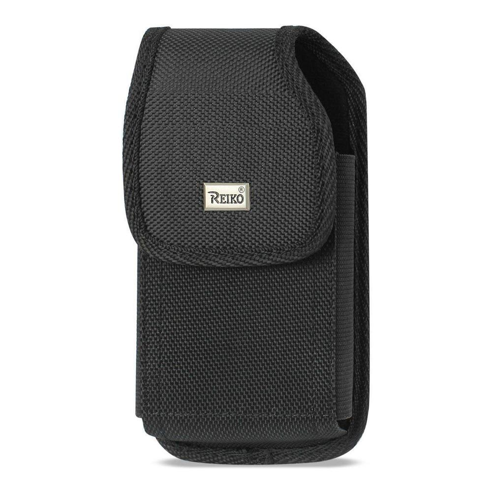 Reiko Vertical Rugged Pouch Samsung Galaxy S4 with Metal Belt Clip (Black) ( 5.78x3.15x0.71inch Plus)