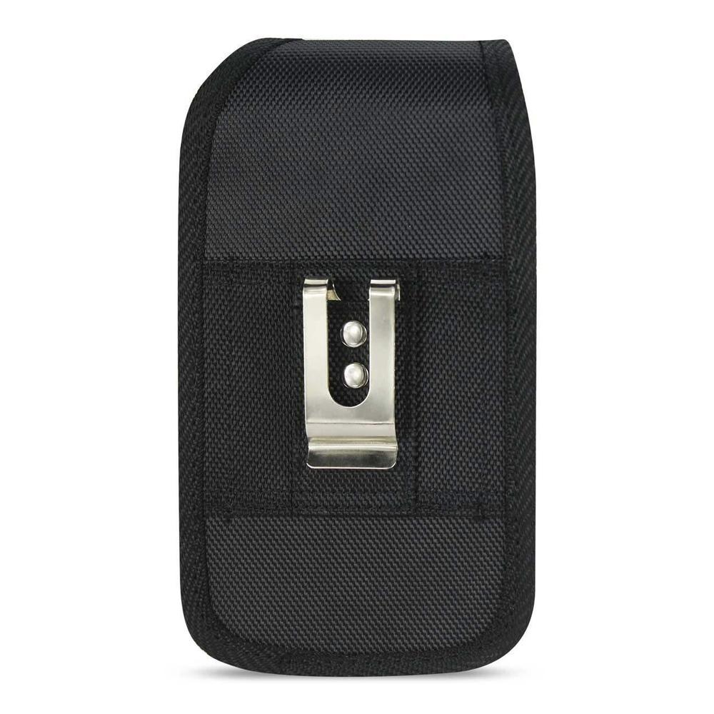 Reiko Vertical Rugged Pouch With Metal Belt Clip In Black (5.8x3.0x0.7 Inches)