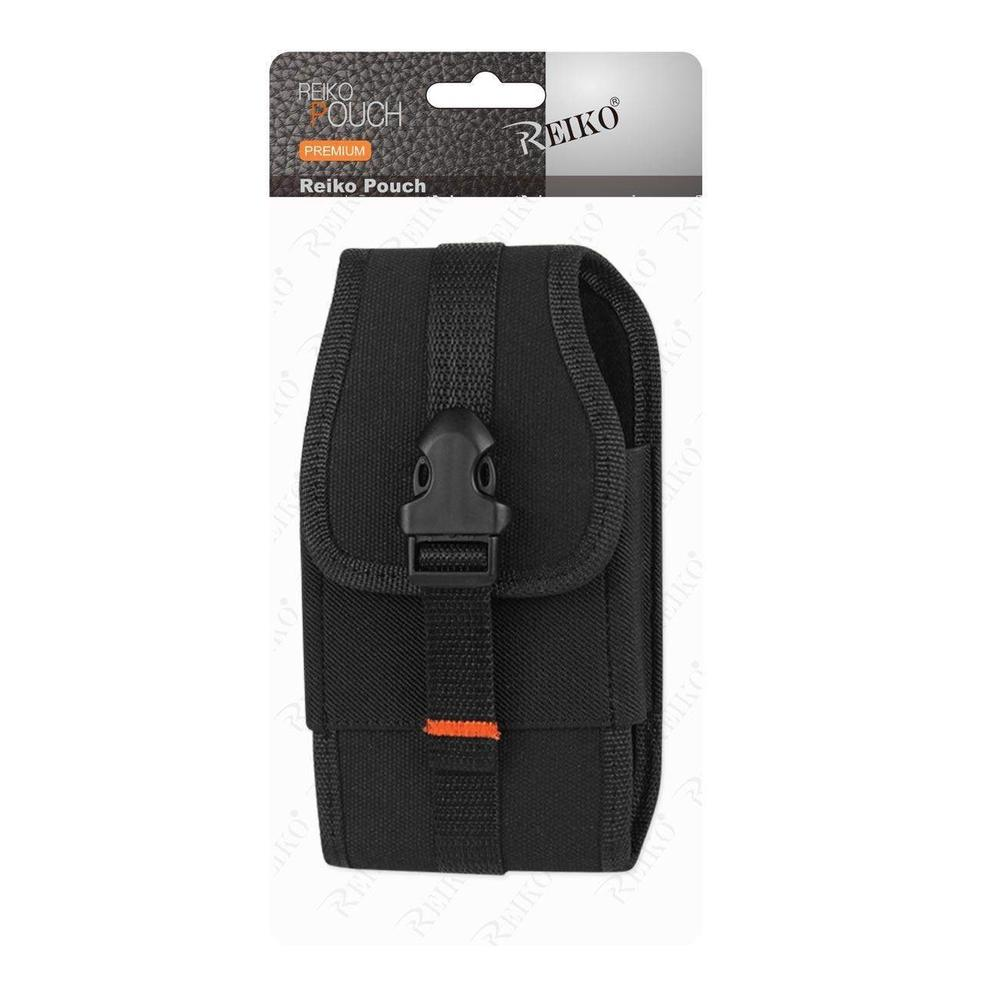 Reiko Vertical Two Way Heavy Duty Phone Pouch With Buckle Clip And Card Holder 6.62x3.46x0.68 Inches (Black)