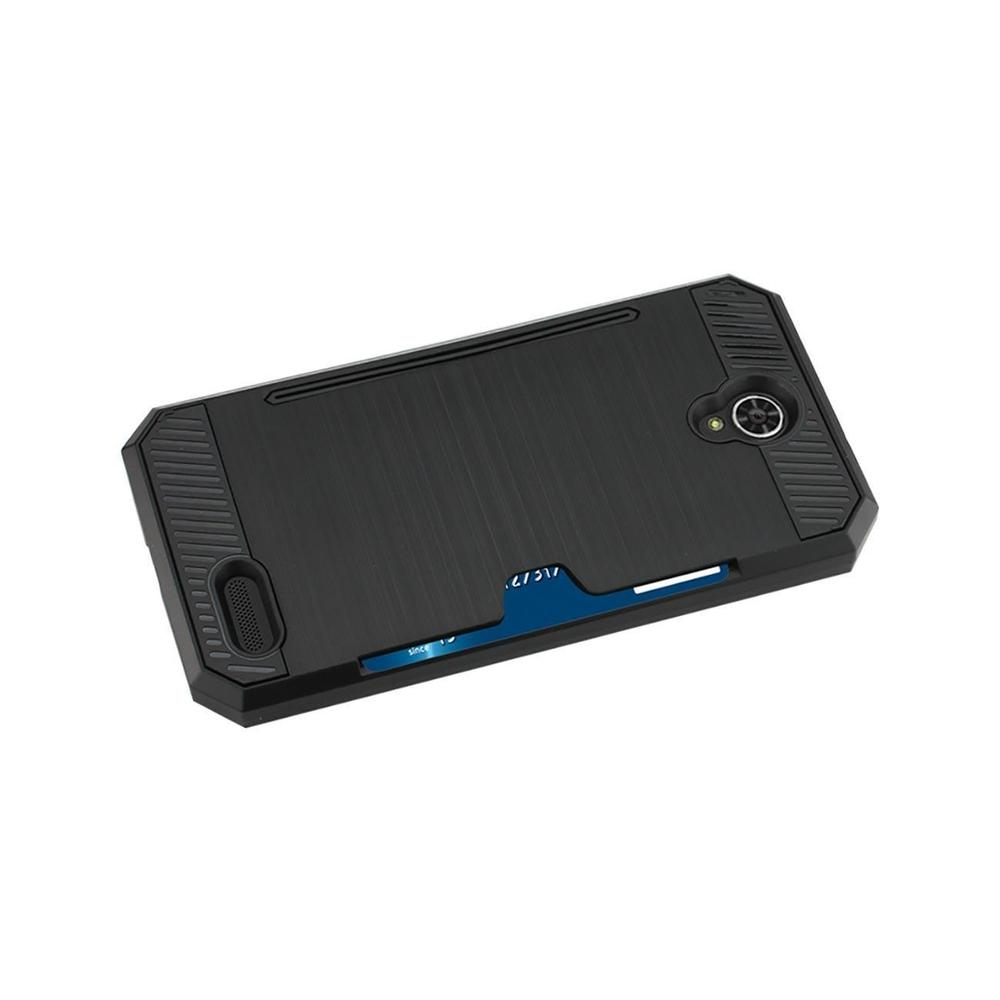 Reiko ZTE Warp 7- Z959 Slim Armor Hybrid Case withCard Holder (Black)