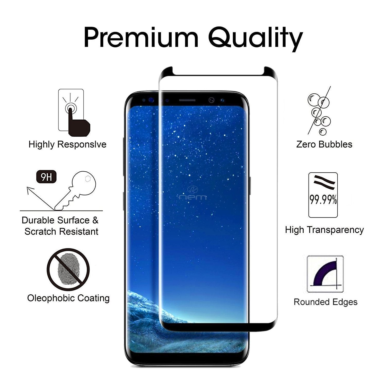 Samsung Galaxy S8 3D Curved Tempered Glass Screen Protector by Modes