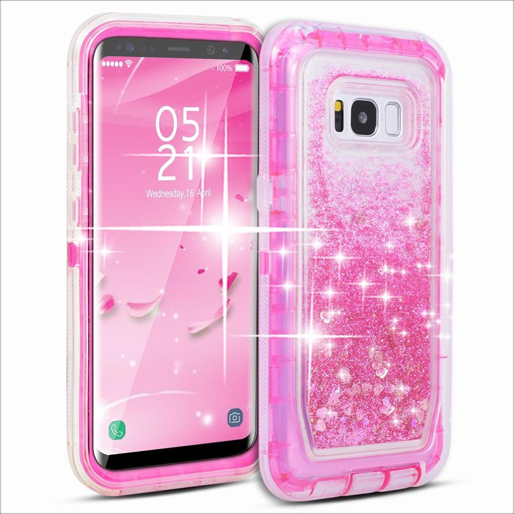 Samsung Galaxy S8 / G950 Tough Defender Sparkling Flowing Liquid Glitter Heart Case With Transparent Pink by Modes