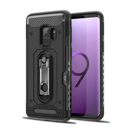Samsung Galaxy S9 Hybrid Brushed Metal Shockproof W. Kickstand Card Slot Tough Case by Modes