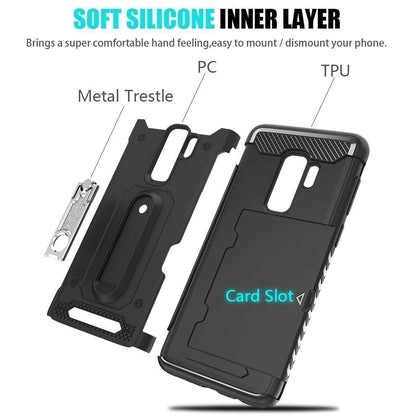 Samsung Galaxy S9 Plus Hybrid Brushed Metal Shockproof W. Kickstand Card Slot Tough Case by Modes