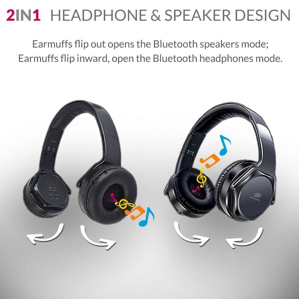 Universal 2-in-1 Bluetooth Wired/Wireless Headphone and Flip Speaker with Microphone by Modes