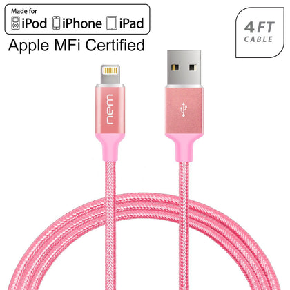 Universal Apple iPod iPad iPhone MFi Certified Nylon Braided Lightning 4Ft. USB Cable by Modes