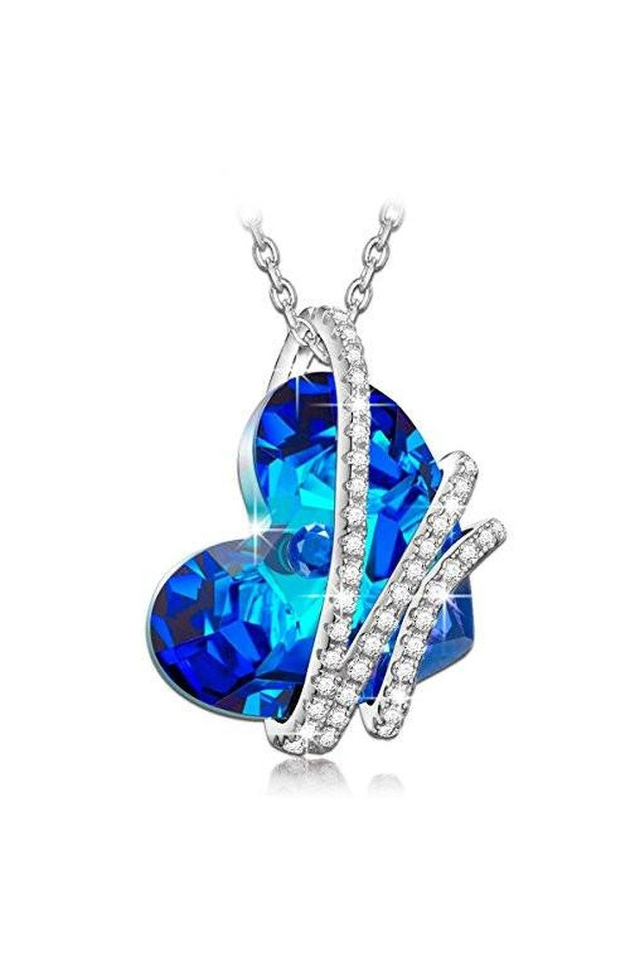 "Heart the Ocean"" 925 Sterling Silver Blue Heart Pendant"