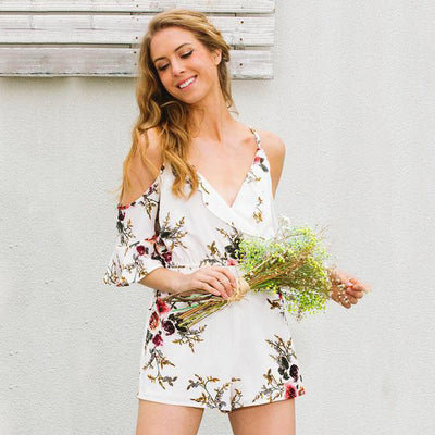 Off-Shoulder Flower Jumpsuit