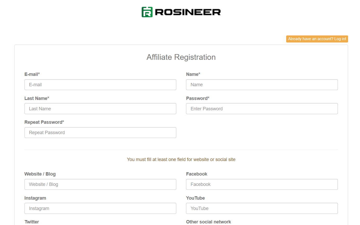 Rosineer Affiliate Referral Program