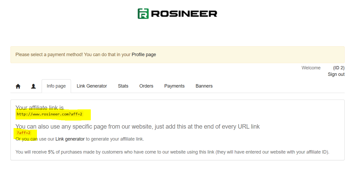Rosineer Affiliate Referral Info