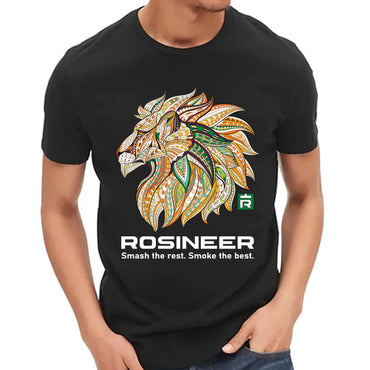 Rosineer Unisex Black Cotton T-Shirt